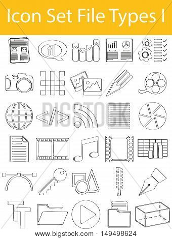 Drawn Doodle Lined Icon Set File Types I with 30 icons for the creative use in graphic design