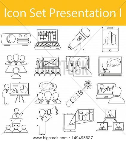 Drawn Doodle Lined Icon Set Presentation I with 16 icons for the creative use in graphic design