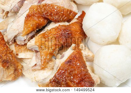 Chicken rice ball roasted famous Asian delicacy Nasi Ayam