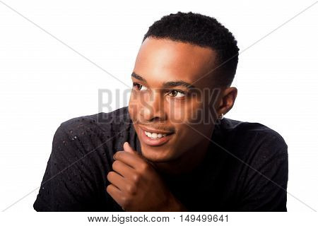Handsome happy smiling face of adolescent young man on white.