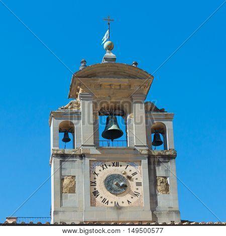 Bell tower close up of Santa Maria della Pieve Church in Piazza Grande Arezzo Italy