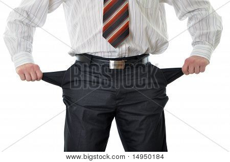 Businessman With Empty Pockets Isolated On White