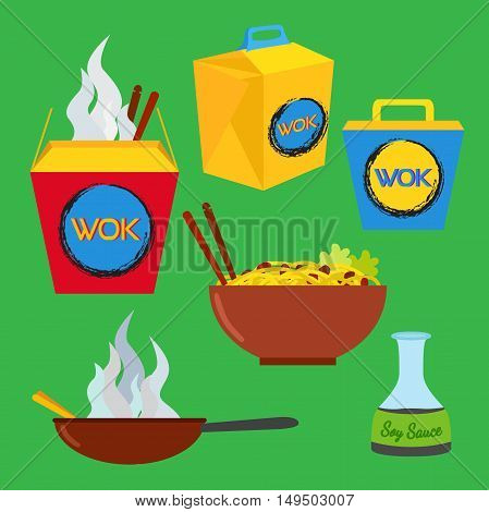 Wok food set. Asian and chinese food. Logo design elements - cafe and restaurant delivery illustrations in trendy flat style.