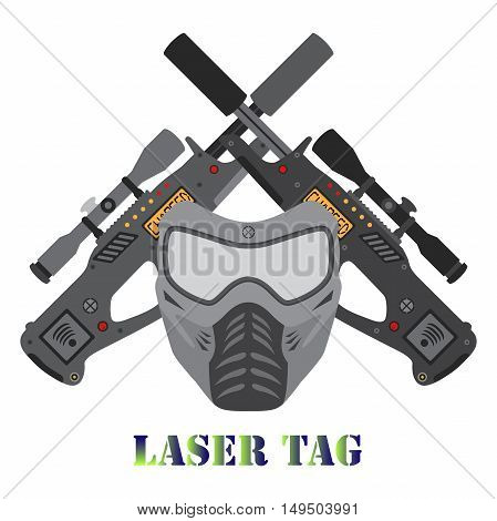 Set of laser tag game equipment. Vector illustration with helmet and laser guns logo.