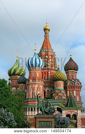 Saint Basil's Cathedral and monument to Minin and Pozharsky. Moscow .Russia.