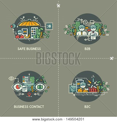 Safe business, B2B, business contact, B2C on gray background