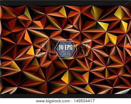 Polygonal 3D abstract background in orange gold color chinese joss paper theme