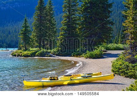 Canoes at Hector Lake Banff National Park Canada