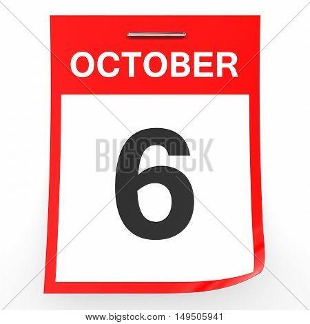 October 6. Calendar On White Background.