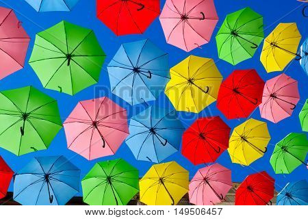 Colorful umbrellas set as decoration on Yoel Moshe Solomon Street Jerusalem Israel