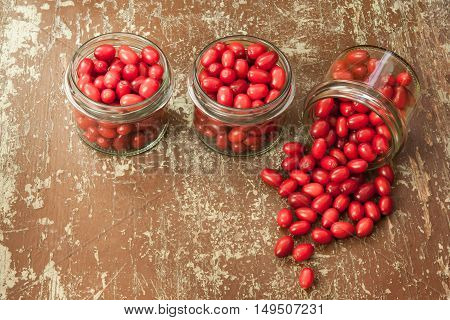 Berries in glass jars ready for canning