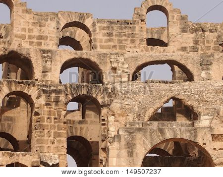 Well saved structure of the well-known amphitheater in El Djem