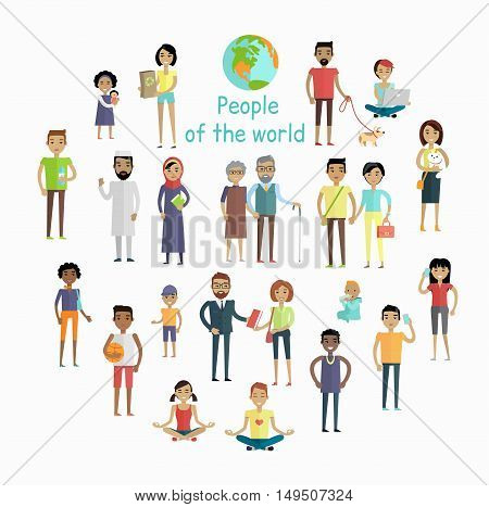 People of the world vector concept in flat design. Collection of peoples illustrations of all ages and human races in national clothes, different poses and variety professions. Isolated on white.