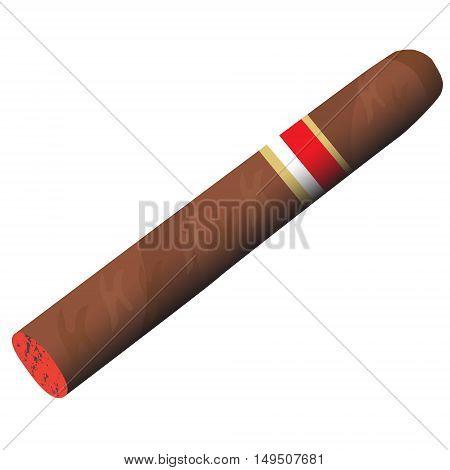 fragrant tobacco smoking cigar burning vector illustration