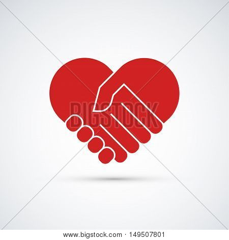 Hands together heart symbol red icon isolated on white background Vector illustration