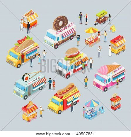 Street food trucks set. Mexican food, Japan food, Donut, Fast food, ice cream, pizza, coffee and tea, fresh lemonade, popcorn. Cars for sale food and drink. Shop on wheels. Car store. Truck with brand
