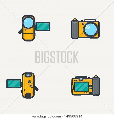Line pixel style sport waterproof yellow photo camera and video camera. View from front and back with open display.