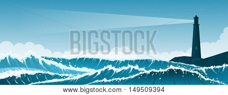Stormy sea background with waves and clouds. Lighthouse