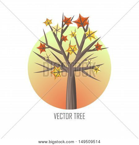 Maple tree with falling leaves round icon. Tree forest, leaf tree isolated, tree branch, plant eco branch tree, organic natural wood illustration. Falling autumn leaves. Vector tree round icon.