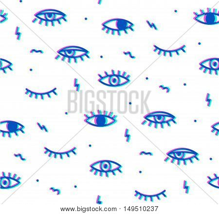 Seamless pattern in the style of psychedelic eyes. Style offset and multiply. The pattern for the fabric cover, the book.