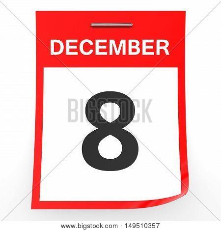 December 8. Calendar On White Background.