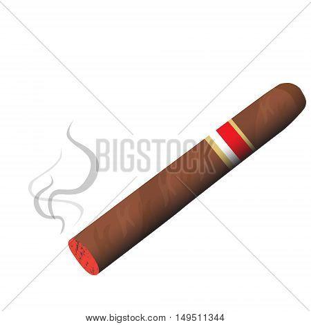 Fragrant Tobacco Cigar Burning Smoke Vector Illustration