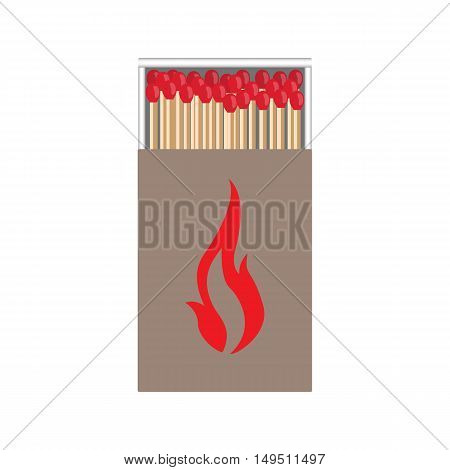 Full Matchbox Craft With Flame With Matches Vector Illustration