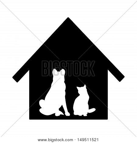 Pets waiting for master. Vector illustration on a white background. Silhouette of cats and dogs against the black house.