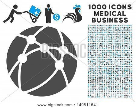 Browser icon with 1000 medical commercial gray and blue glyph pictographs. Clipart style is flat bicolor symbols white background.