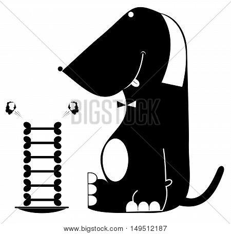 Funny dog. Funny dog with а bone