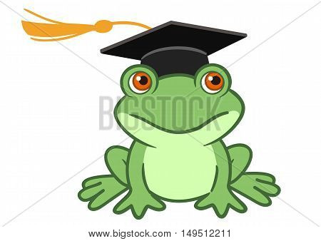 Vector hand drawn cartoon illustration of a happy smiling frog wearing a black graduate mortarboard cap with a tassel isolated on white. Graduation concept for preschool kindergarten and school.