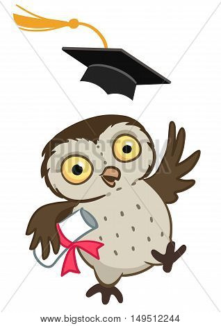 Vector hand drawn cartoon mascot character illustration of a cute happy owl throwing a mortarboard cap in the air holding a graduation diploma.
