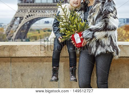 Mother And Daughter With Christmas Tree Hugging In Paris