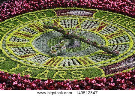 Clock made of flowers at Princes Streets Gardens Edinburgh Scotland. UK.