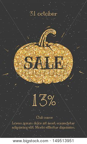 Text on the sale of gold. Sale Halloween leaflets, posters for sale sign, discounts, marketing, sales, banner, web header. Abstract gold background for text citations.