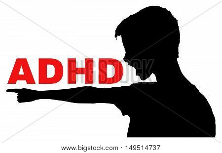 ADHD Attention Deficit Hyperactivity Disorder concept vector with isolated silhouette of angry boy