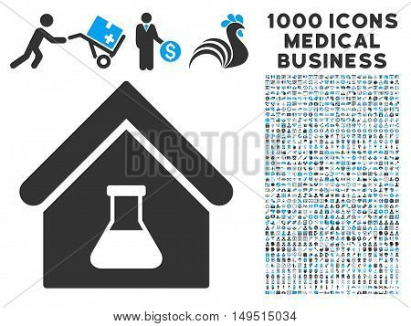 Chemical Labs Building icon with 1000 medical commerce gray and blue glyph pictographs. Clipart style is flat bicolor symbols white background.