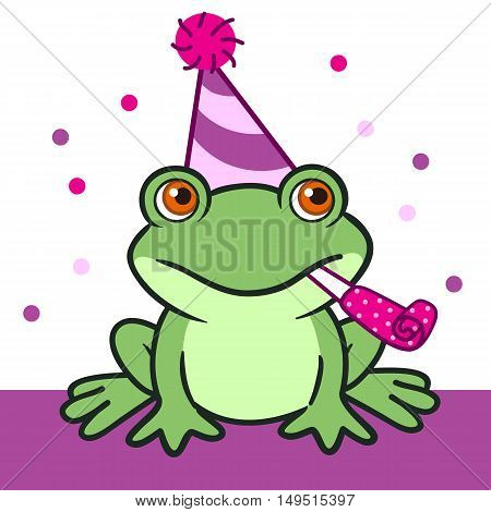 Vector hand drawn cartoon illustration of a friendly green frog in a pink and purple party hat with a pom-pom with a party blower horn in its mouth against purple and white background with pink dots