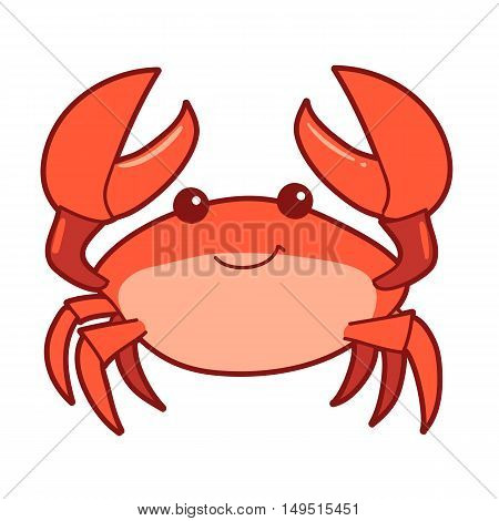 Vector hand drawn cartoon illustration of a cute smiling happy crab character lifting up claws isolated on white background.