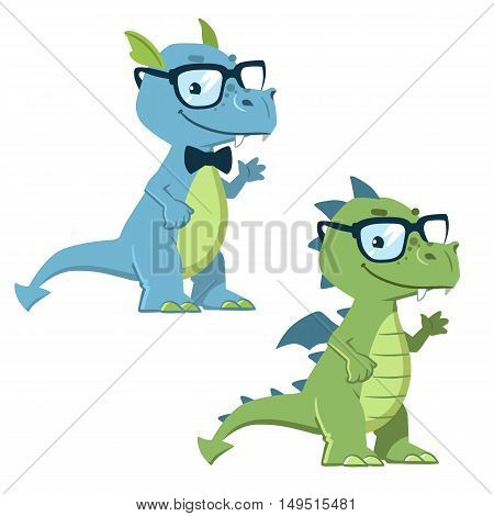 Vector hand drawn cartoon character illustration of a cute friendly nerdy dragon wearing glasses and bow tie in contemporary flat style. Mascot or logo design element.