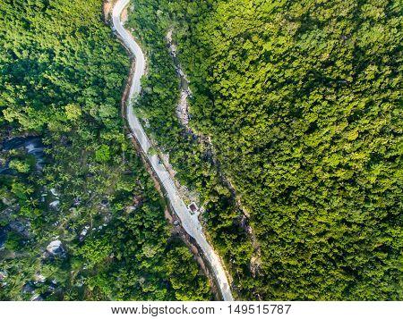 Aerial view of road in jungle of Koh Phangan, Thailand