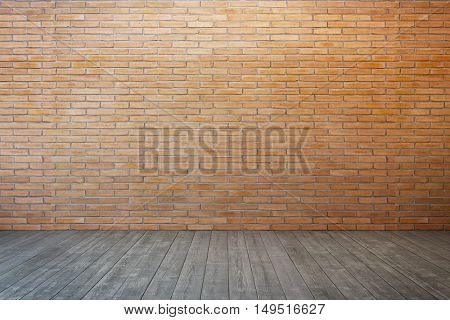 empty room with brick wall and wood floor, 3D rendering