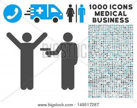 Crime Robbery icon with 1000 medical commerce gray and blue glyph pictographs. Clipart style is flat bicolor symbols white background.