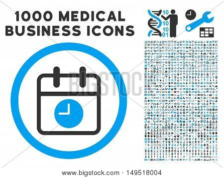 Date and Time icon with 1000 medical commerce gray and blue glyph pictographs. Clipart style is flat bicolor symbols white background.