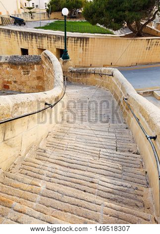 ancient stairs in the castle Rabat Victoria fortress Gozo, Maltese islands