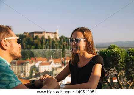 Lovers With European Red Roofs And Castle On The Background In Ljubljana, Slovenia.