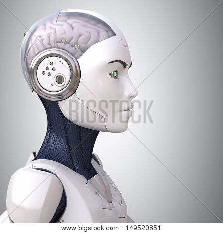 Robot's head in profile.High quality 3D render