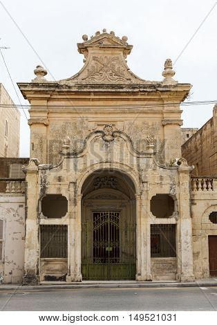 abandoned mansion in Rabat. Maltese architecture in Mdina, Malta