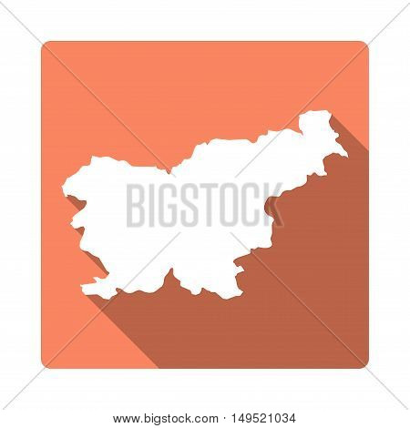 Vector Slovenia Map Button. Long Shadow Style Slovenia Map Square Icon Isolated On White Background.