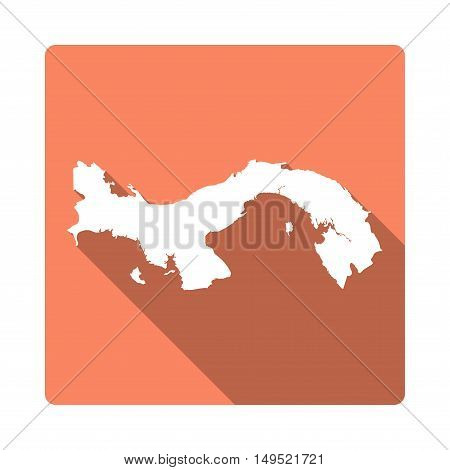 Vector Panama Map Button. Long Shadow Style Panama Map Square Icon Isolated On White Background. Fla